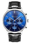 Bonvier Monza Blue Silver Chronograaf Leather Horlogewatch,nl