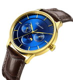 Bonvier Roma Blue Gold Maanfase 40 mm Horlogewatch.nl