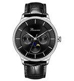 Bonvier Roma Black Silver 40 mm Maanfase Horlogewatch.nl