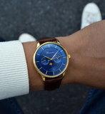 Bonvier Roma Blue Gold Maanfase 40 mm Horlogewatch.nl