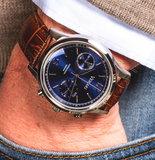 Vescari Chestor Steel Blue - Brown Croco Horlogewatch.nl