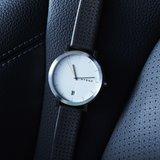 Hygge 2203 White Black Leather MSL2203C(BK) Horlogewatch.nl