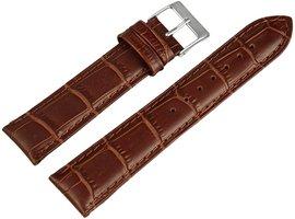 Horlogeband Bruin / Zilver 20 mm