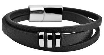 Akzent Armband Heren Zwart Leer