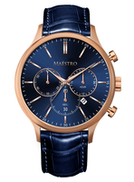 Maestro Watch Blue & Rose Gold - The Executive Chrono