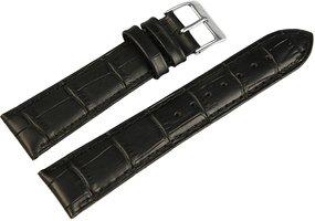 Horlogeband Zwart / Zilver 20 mm