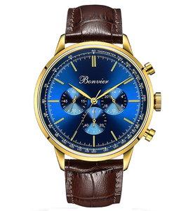 Bonvier Milano Blue Gold Chronograaf Horlogewatch.nl