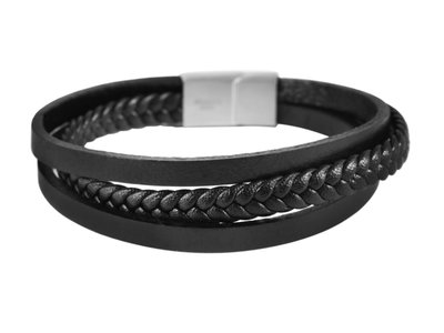 Akzent Armband Heren Zwart Leer Verlengbaar Horlogewatch.nl