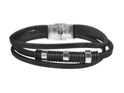 Akzent Armband Heren Zwart Leer Horlogewatch.nl
