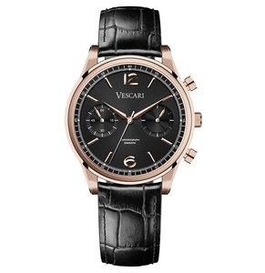 Vescari Chestor Rosegold Black - Black Croco Horlogewatch.nl