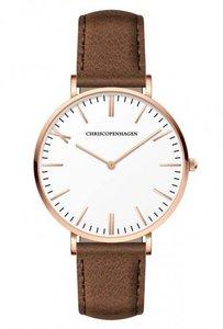 Chris Copenhagen CC1012 Gefionspringvandet rosegoud wit bruin Horlogewatch.nl