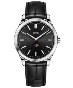 Maen Watch Manhattan 40 Moonphase Jet Black Horlogewatch.nl