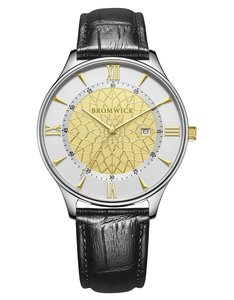 Bromwick Tower Gold Black Leather Watch Horlogewatch.nl
