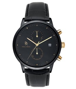 Paul Rich Cosmic Leather Black Gold Horlogewatch.nl
